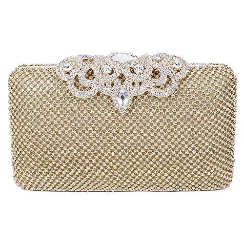 SYMALL Bolso de Mano con Diamantes Cristales Brillantes Cartera de Mano Estilo Elegante de Lujo Bolso de Fiesta para Mujer: Amazon.es: Equipaje