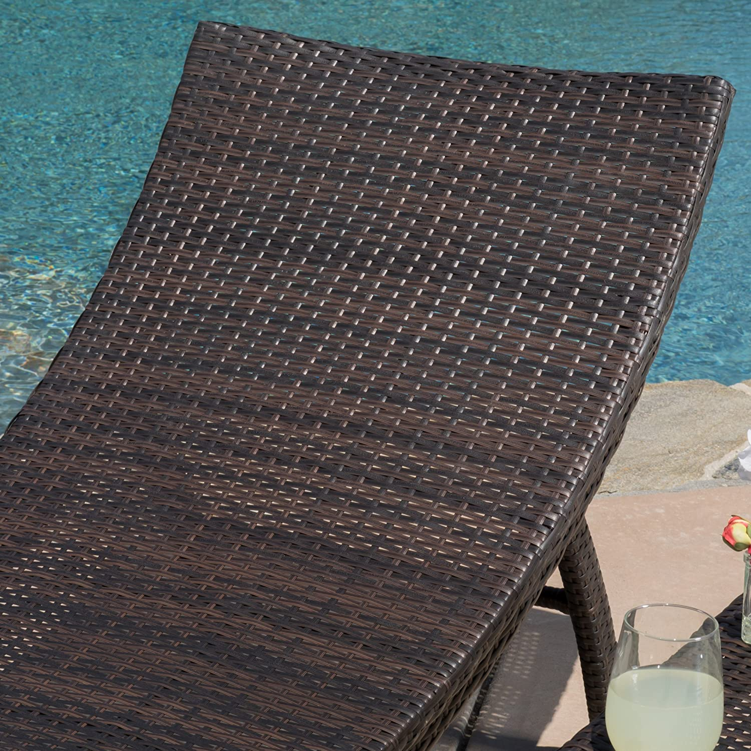 Maureen Outdoor 3pc PE Wicker Folding Chaise Lounge Chair Table Set