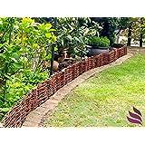 Floranica - Bordura in legno naturale impregnato, recinto in vimini per aiuole: 1 elemento (altezza 20 cm) e in 25 dimensioni diverse, lunghezza:100cm