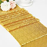 """DOLOPL Sequin Table Runners 12"""" X72 Inch Glitter Gold Table Runner Party Supplies Fabric Decorations for Wedding…"""