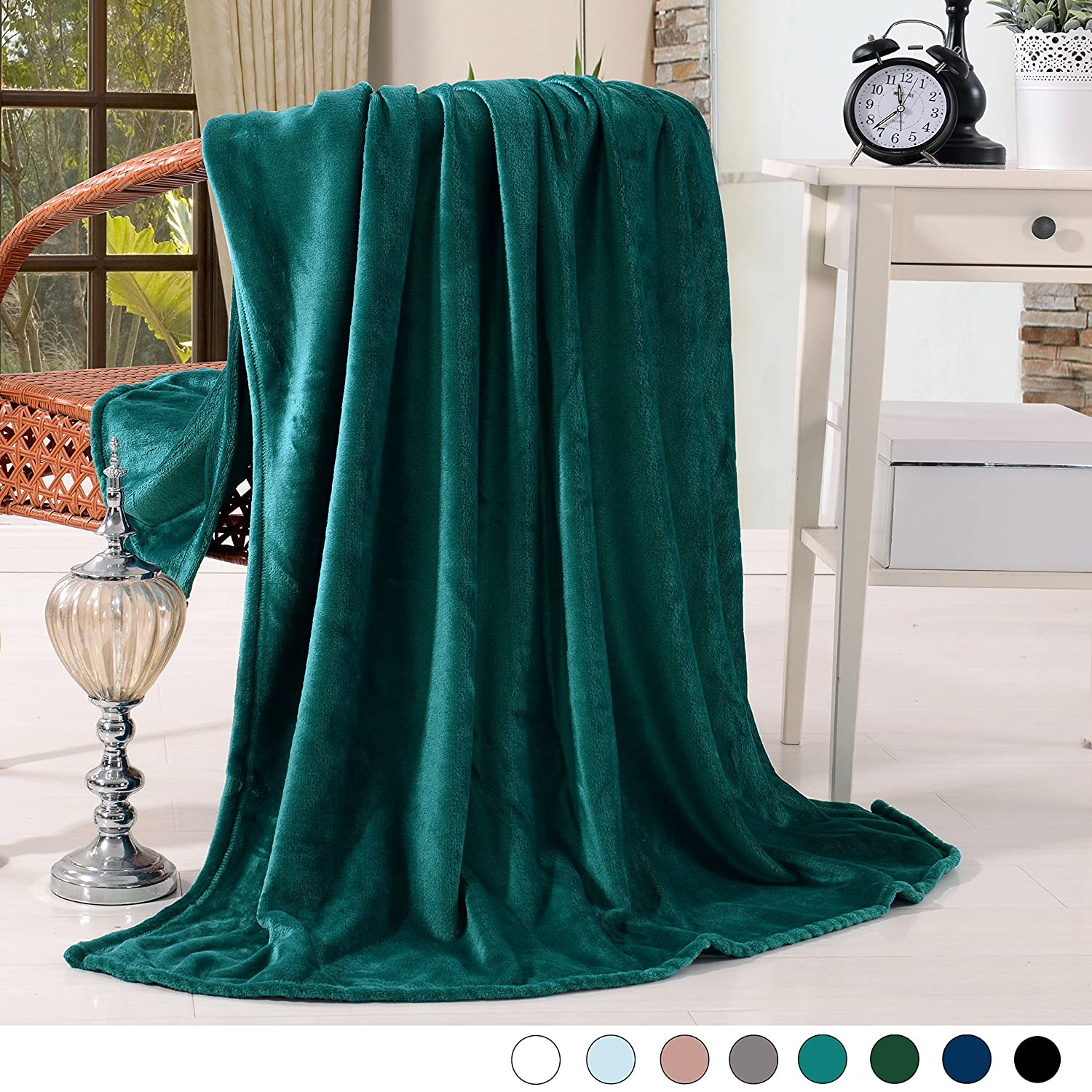 "Exclusivo Mezcla Luxury Flannel Velvet Plush Throw Blanket – 50"" X 60"" (Teal) by Exclusivo Mezcla"