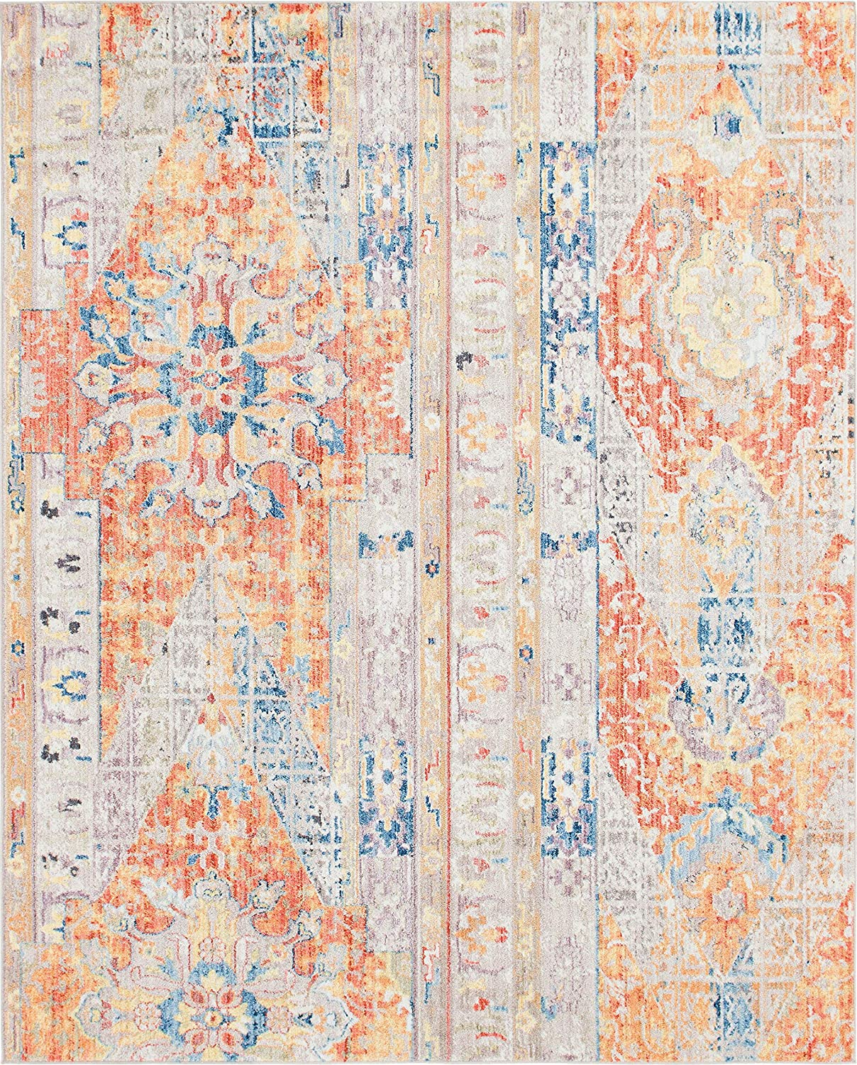 2 x 6 Unique Loom Basilica Collection Colorful Traditional Bohemian Vintage Blue Runner Rug
