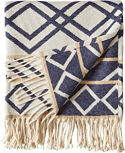 """Rivet Global Inspired Geometric Throw Blanket, Soft and Stylish, 50"""" x 60"""", Navy and Natural"""