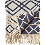 "Amazon Brand – Rivet Global Inspired Geometric Throw Blanket, Soft and Stylish, 50"" x 60"", Navy and Natural"