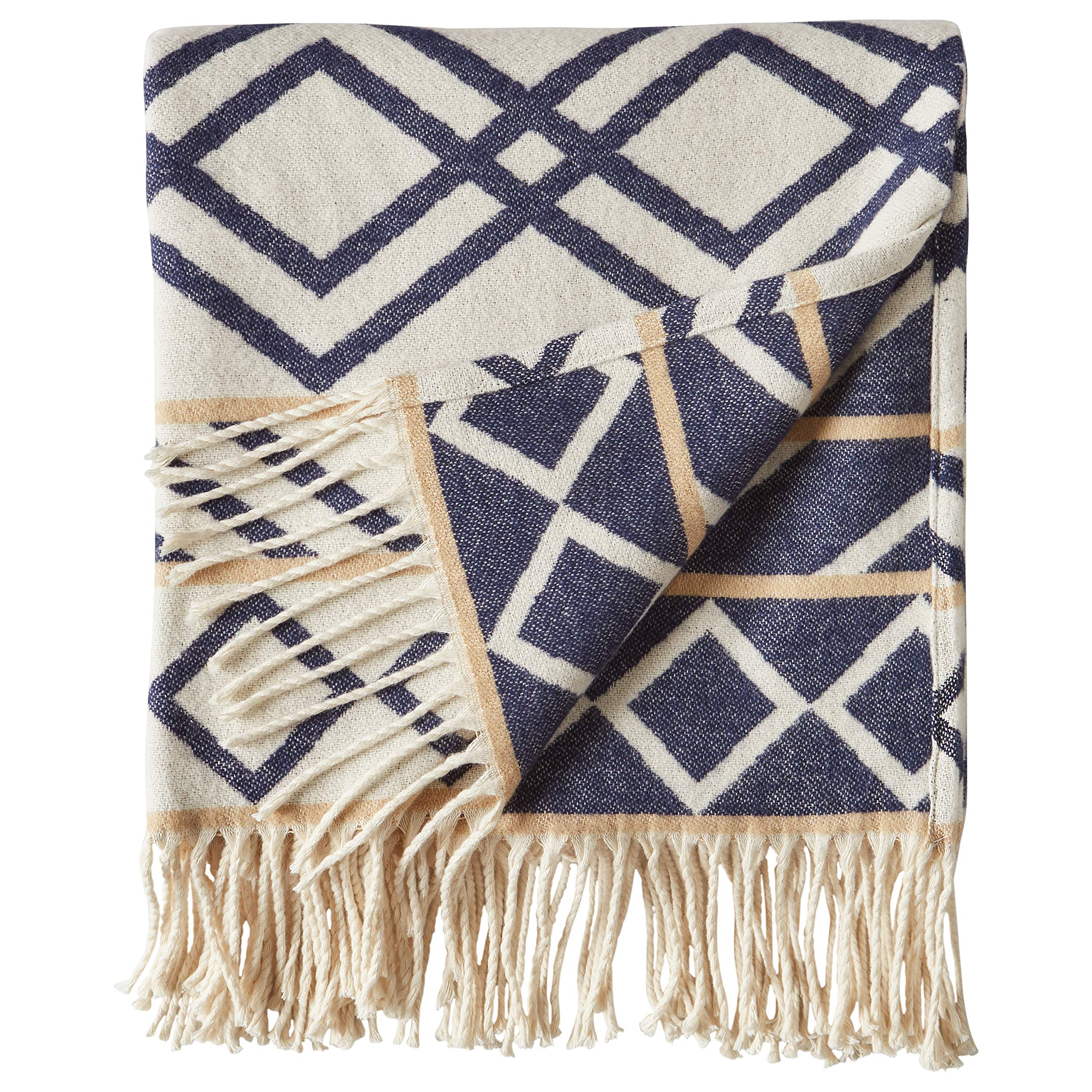Rivet Global Inspired Geometric Throw Blanket, Soft and Stylish, 50'' x 60'', Navy and Natural by Rivet