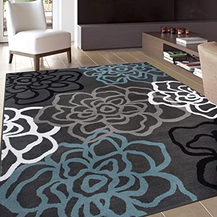 Amazon Rugshop Contemporary Modern Floral Flowers Area Rug 5 3 X 7 Gray Kitchen Dining