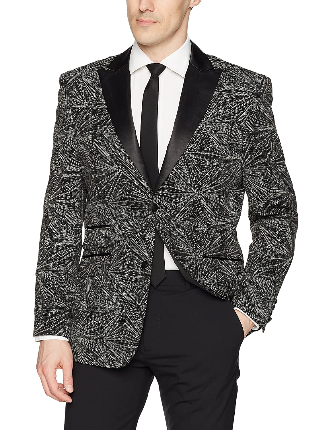 Stacy Adams BLAZER メンズ B0761742MF X-Small|ブラック ブラック X-Small