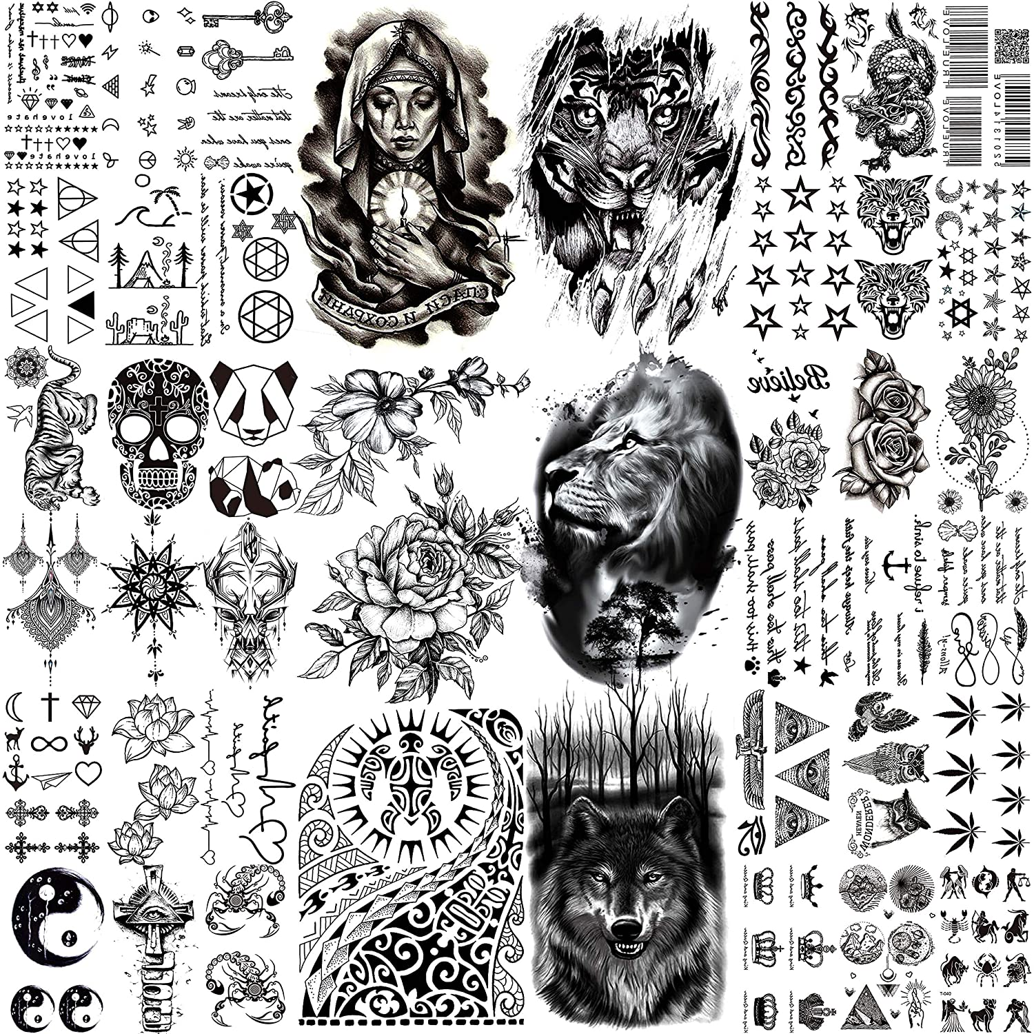 TASROI 42 Sheets Black Large Temporary Tattoos For Men Tribal Maori Tiger Lion Pray Nun Women Arm Flower Tattoo Temporary Fake Stars Words Letters Tattoos For Adults Kids Face Chest Neck Tatoo Sticker