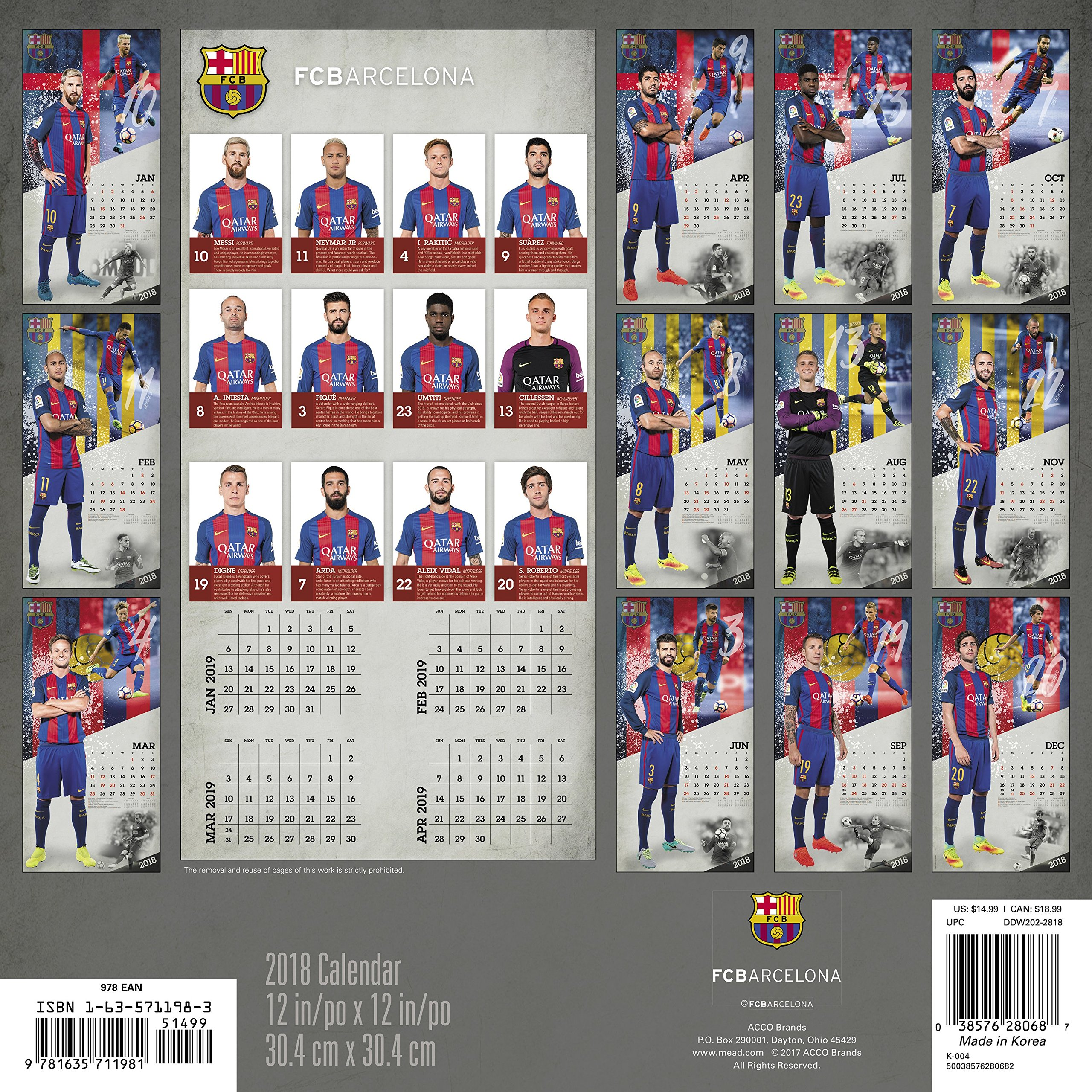 2018 FC Barcelona Wall Calendar (Day Dream): Day Dream: 0038576280687:  Amazon.com: Books