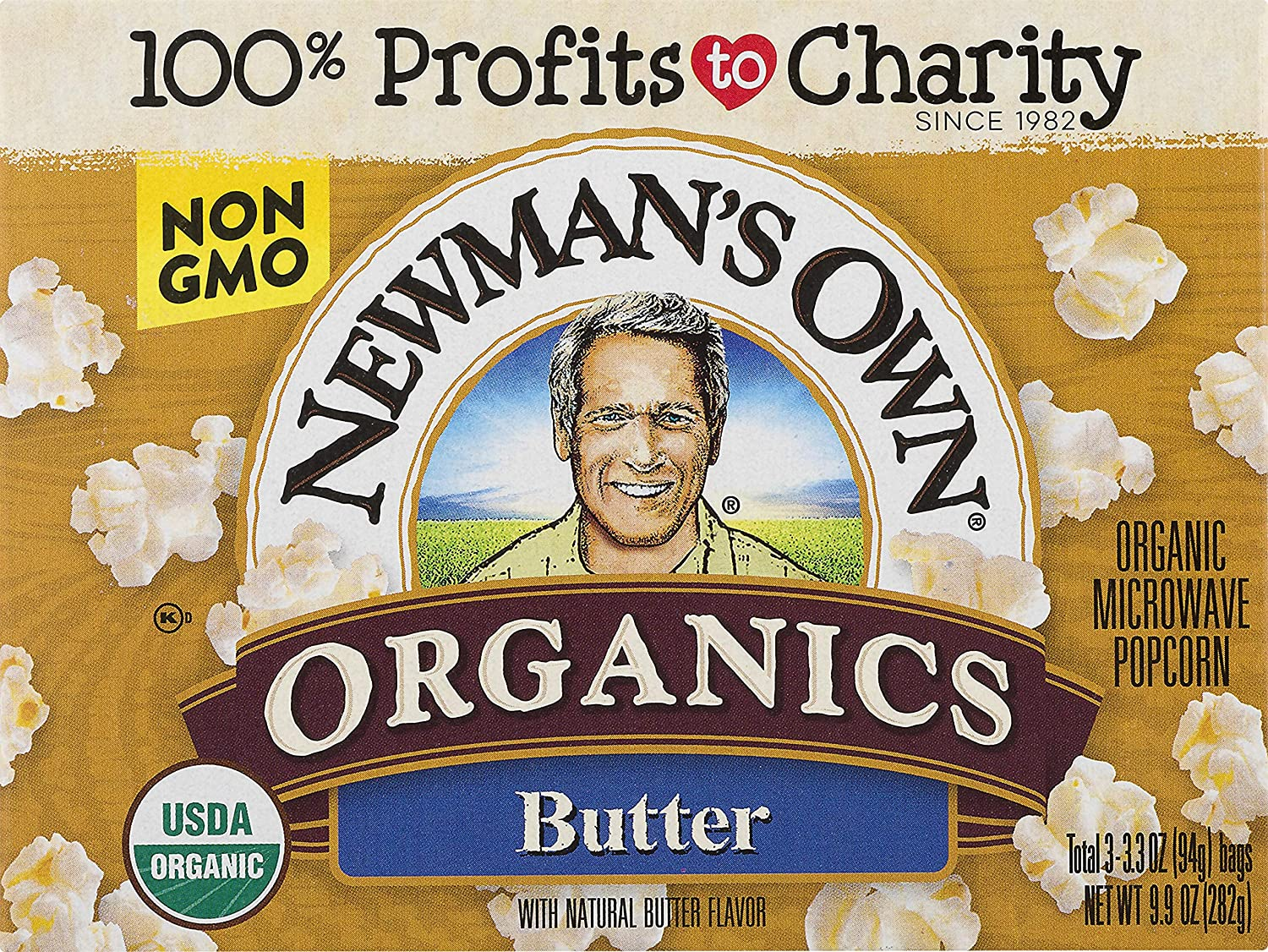 Newman's Own Organic Pop's Corn Microwave Popcorn, Butter, 3 Count