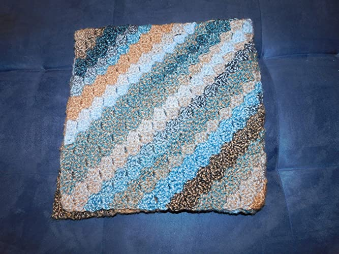 Amazoncom Handmade Crochet Baby Blanket Browns And Blues 30 X