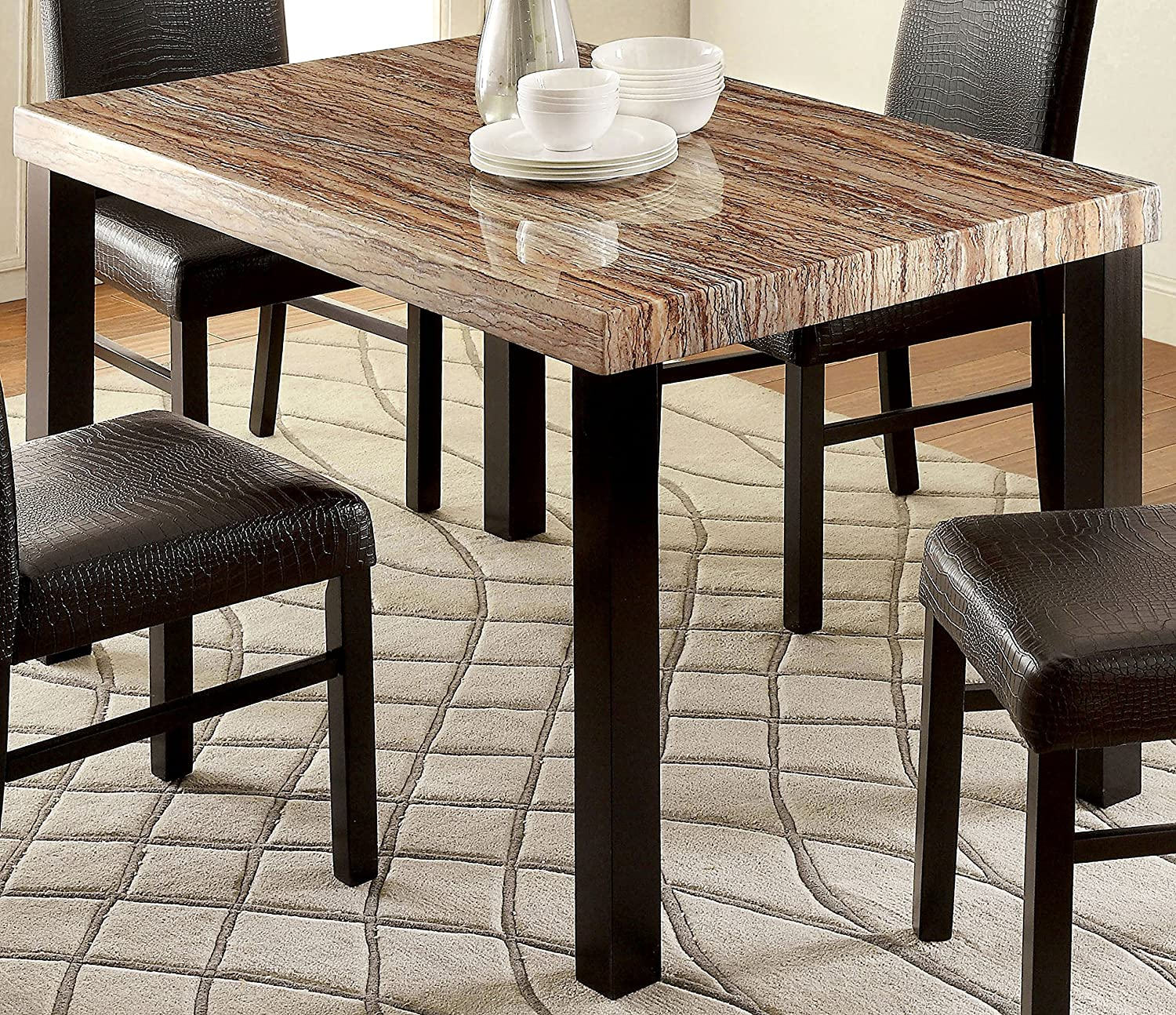 Amazon.com   Furniture Of America Bahia Contemporary Faux Marble Top Dining  Table   Tables Part 30