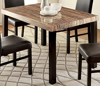 Image Unavailable. Image not available for. Color Furniture of America Bahia Contemporary Faux Marble Top Dining Table & Amazon.com - Furniture of America Bahia Contemporary Faux Marble Top ...
