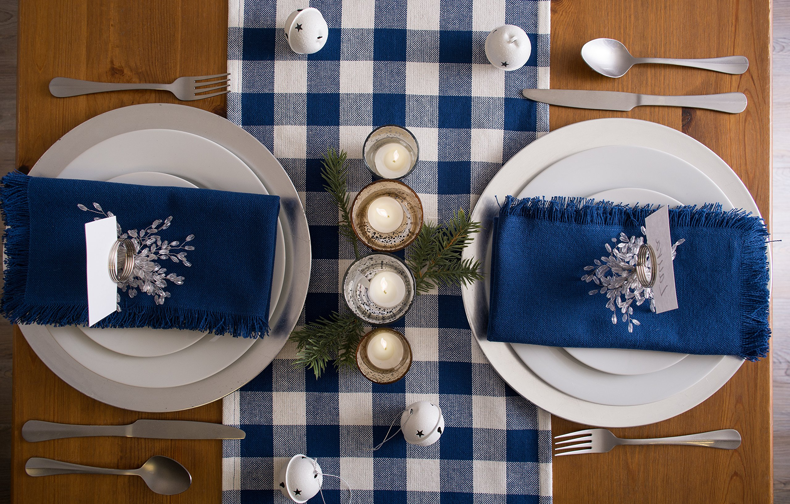 DII 100% Cotton, Oversized Basic Everyday Woven Heavyweight Napkin with Decorative Fringe for Place Settings, Family Dinners, BBQ, and Holidays (20x20'', Set of 6) Navy Blue Solid by DII (Image #9)