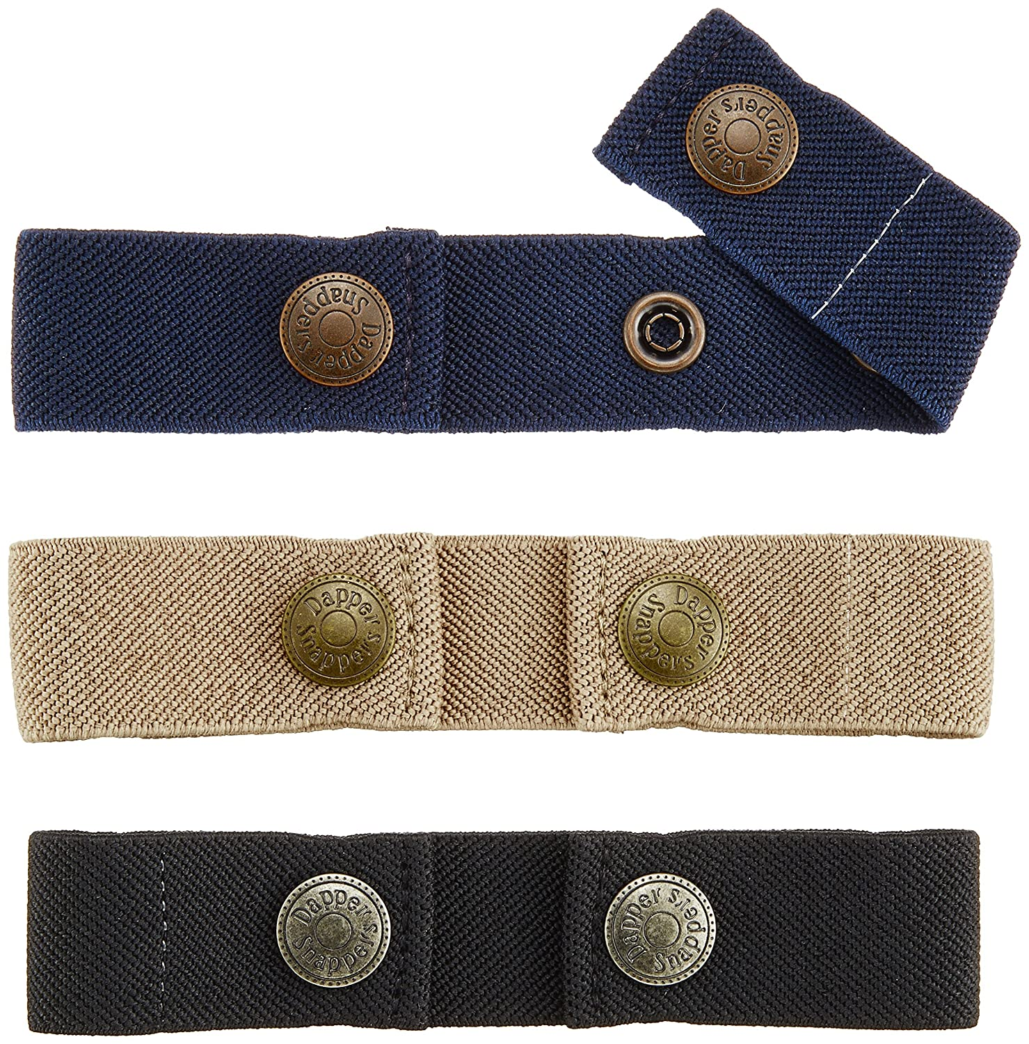 Dapper Snapper Baby & Toddler Adjustable Belt- Boy's Colors: Black, Tan, and Navy Ontel Products Corporation 3PK-NVBGBK