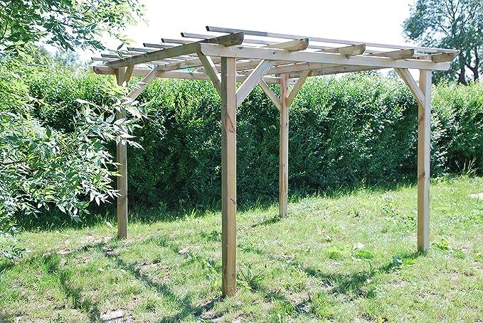 Pérgola clásica rectangular de madera para jardín - medidas H215cm ...