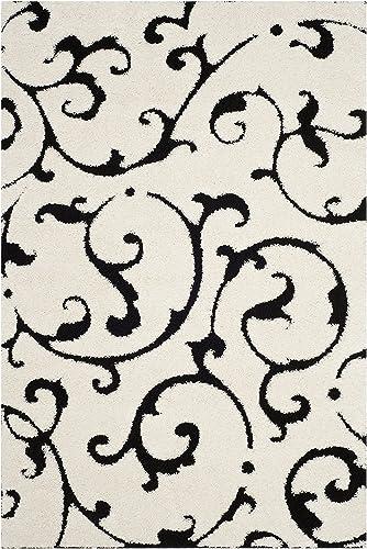 Safavieh Florida Shag Collection SG476-1290 Ivory and Black Scrolls Area Rug 6 x 9