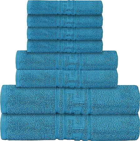 Casa de Oro - Juego de 8 toallas – 600 g/m² 100% algodón egipcio hilado altamente absorbente – 2 toallas de baño – 2 toallas de mano – 4 paños de baño: Amazon.es: Hogar