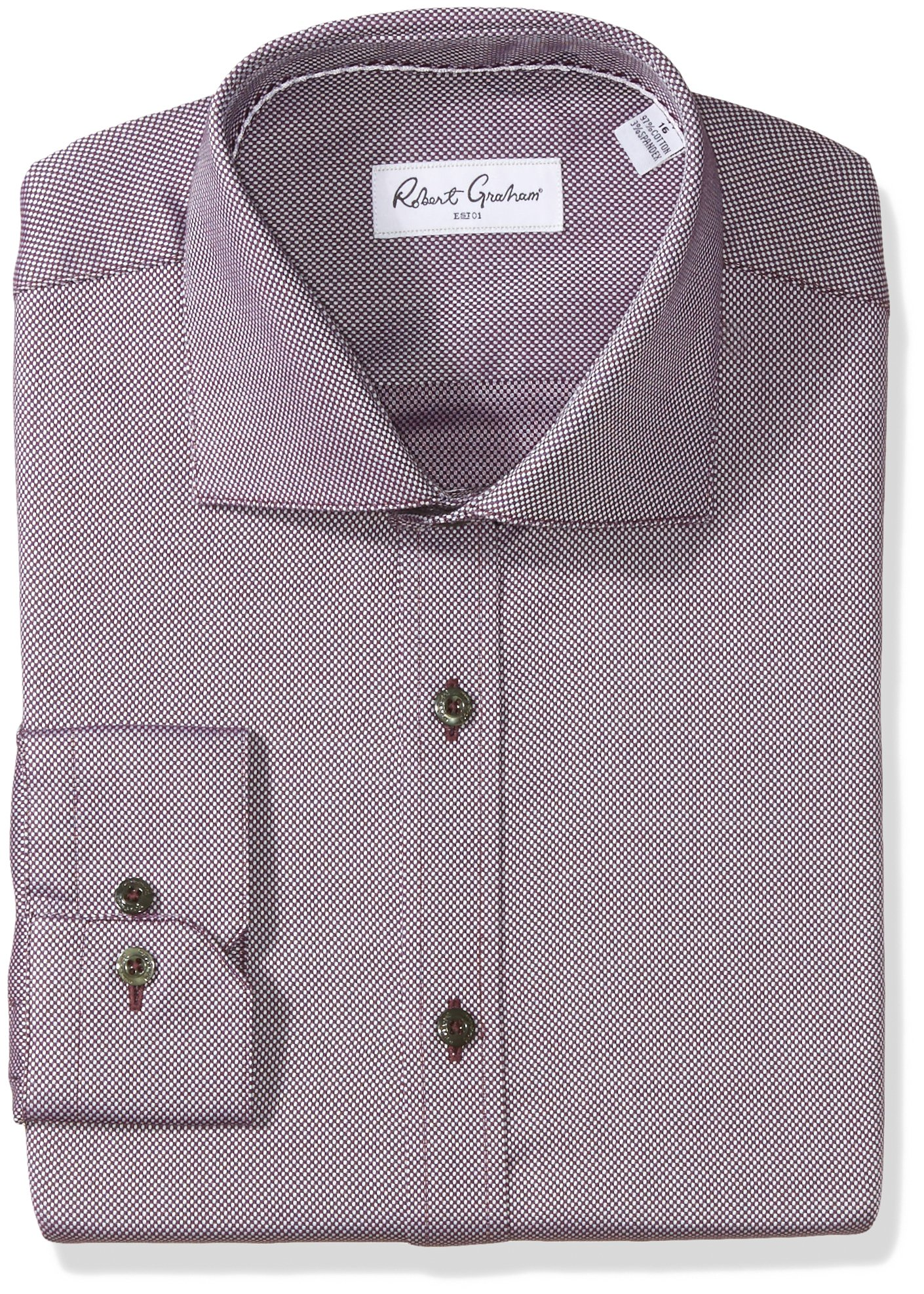 Robert Graham Men's Felix Regular Fit Textured Dress Shirt, Wine, 17'' Neck 36'' Sleeve