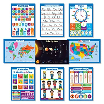 Amazon.com: 9 LAMINATED Educational Wall Posters For Kids - ABC ...