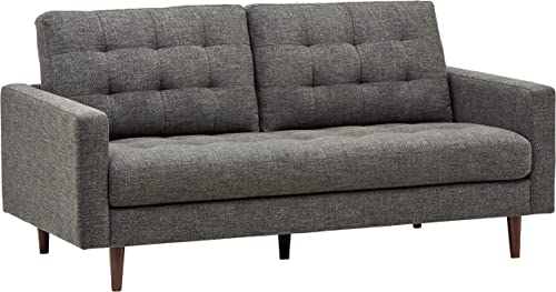 Rivet Cove Mid-Century Modern Tufted Sofa with Tapered Legs, 72 W, Dark Grey