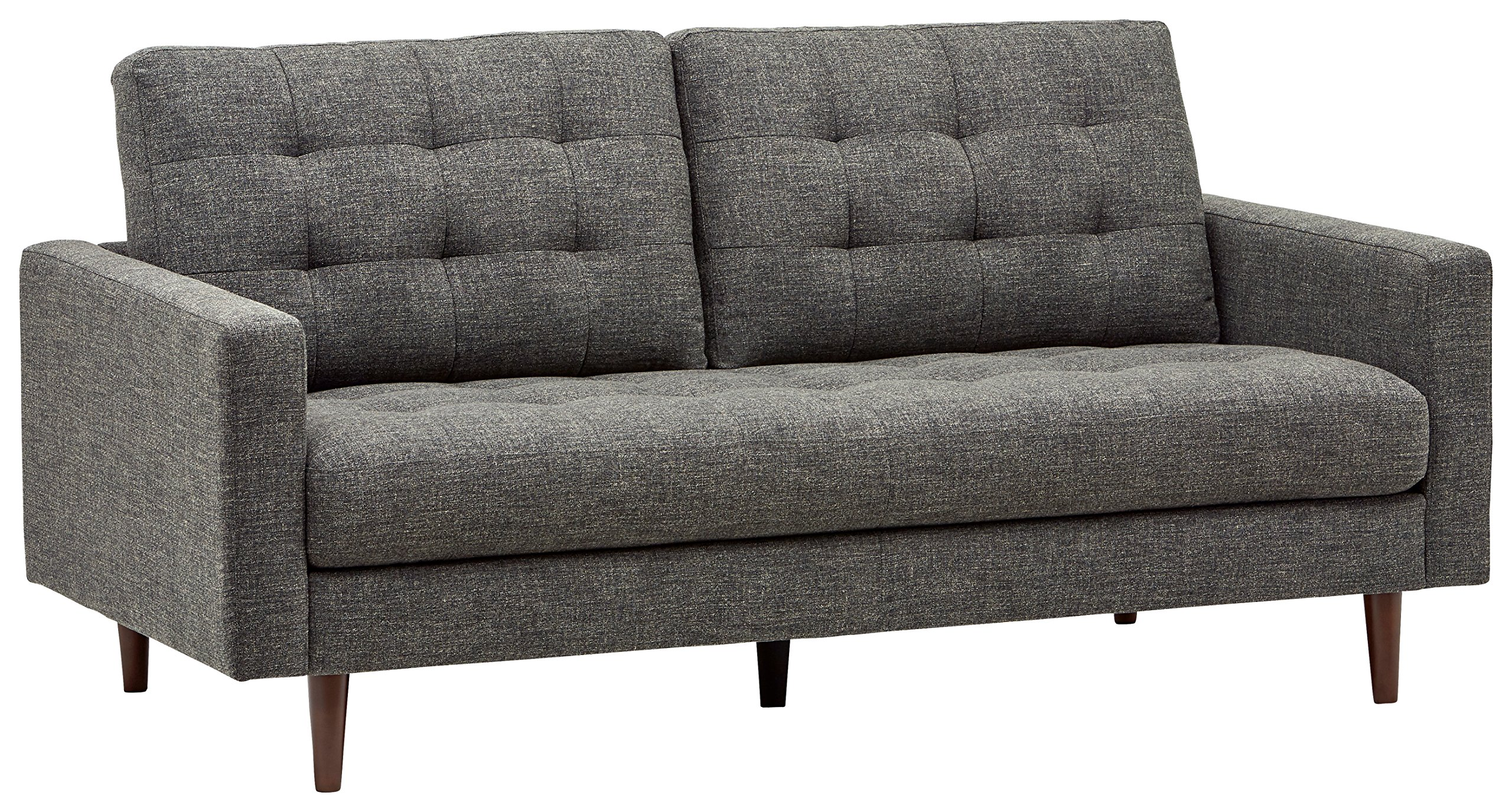 Rivet Cove Mid-Century Modern Tufted Sofa with Tapered Legs, 72''W, Dark Grey by Rivet