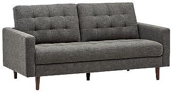 amazon com rivet cove mid century tufted sofa 71 7 w dark grey rh amazon com sofa bed grey leather sofa bed grey cheap
