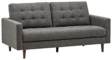 Rivet Cove MidCentury Tufted Sofa 717u0026quotW Dark Grey Grey Tufted Sofa26