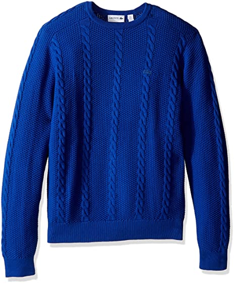 1fbc876733cf0 Lacoste Men s Long Sleeve Resort Cotton Cable Crewneck