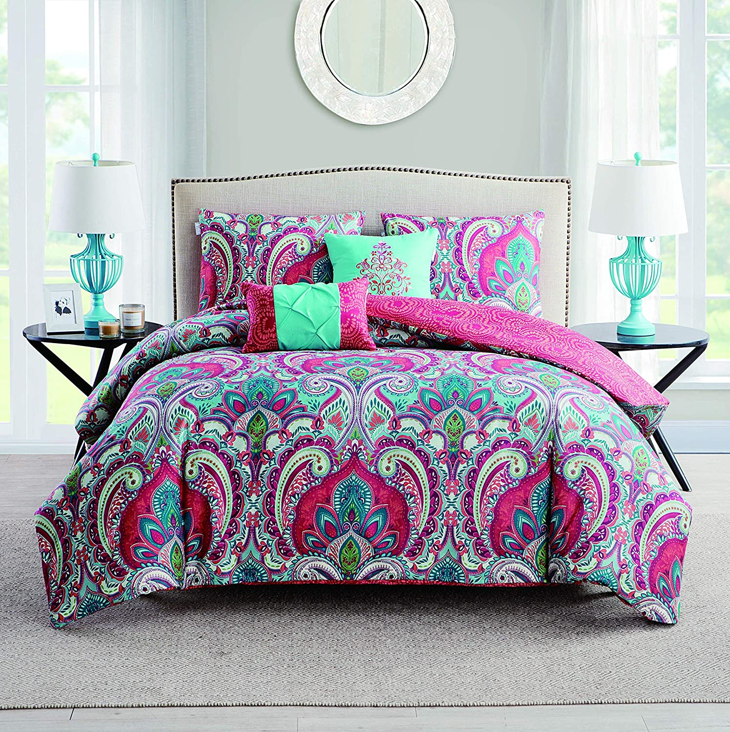Twin Multi VCNY Home Casa Real 4 Piece Reversible Quilt Set