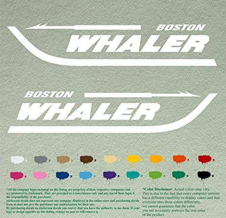 Amazoncom Pair BOSTON WHALER Decals White Vinyl Stickers - Custom vinyl decals boston