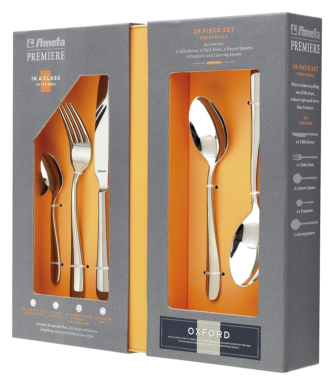 Amefa UK Premier Oxford Cutlery Serving Set, Silver, Pack of 26 Amefa UK Ltd 186000NP26C84
