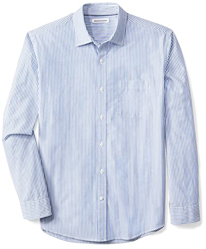 Amazon Essentials Men's Regular-Fit Long-Sleeve Stripe Shirt, White/Blue Stripe, Medium