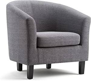 SIMPLIHOME Austin 30 inch Wide Transitional Tub Chair in Grey Linen Look Fabric