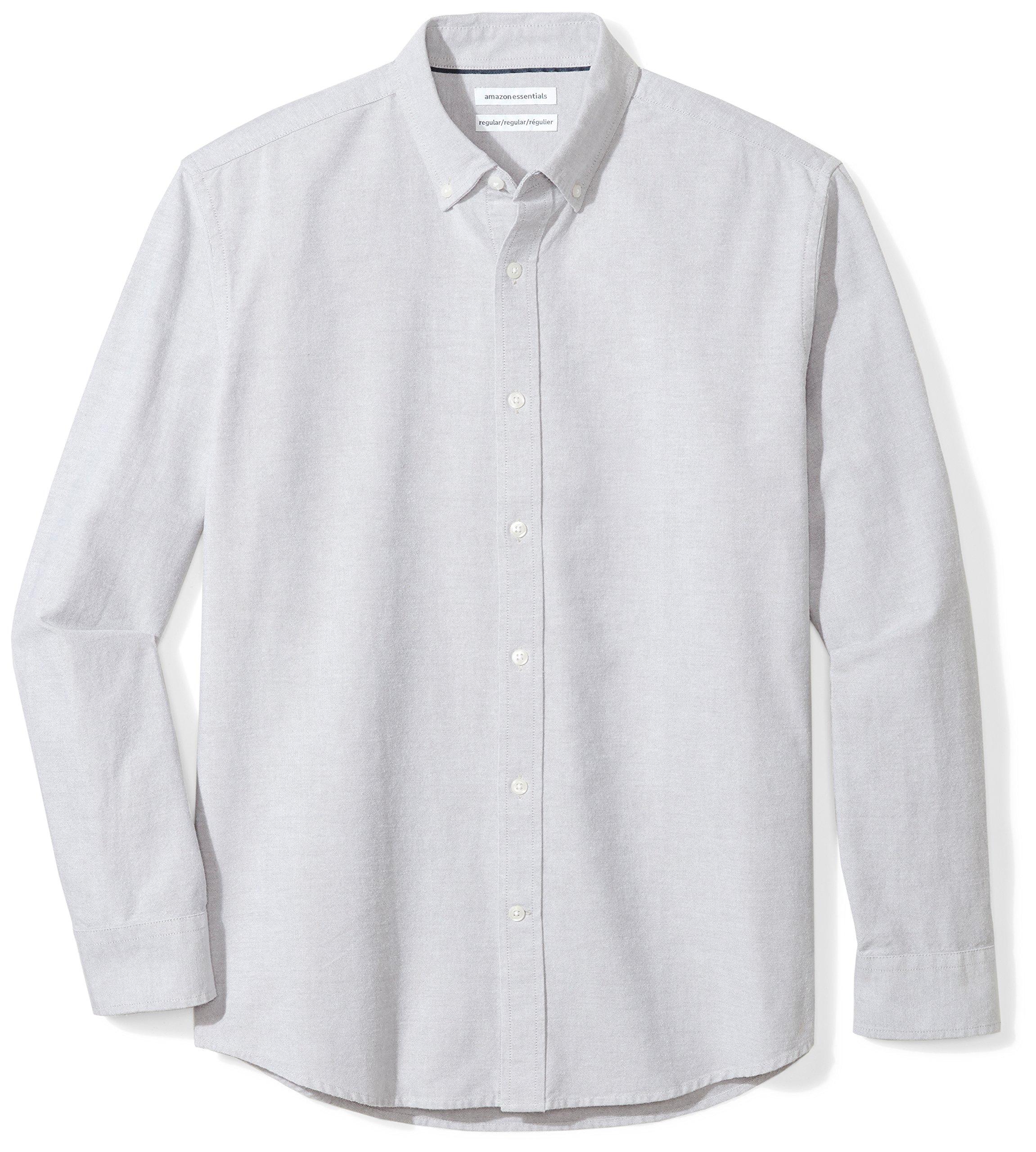 Amazon Essentials Men's Regular-Fit Long-Sleeve Solid Oxford Shirt, grey, X-Large