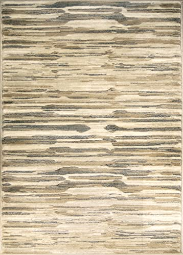 ADGO Hudson Collection Modern Geometric Striped Medallion Triangle Soft Pile Contemporary Carpet Thick Plush Stain Fade Resistant Easy Clean Bedroom Living Dining Room Floor Rug, Beige, 8 x 10