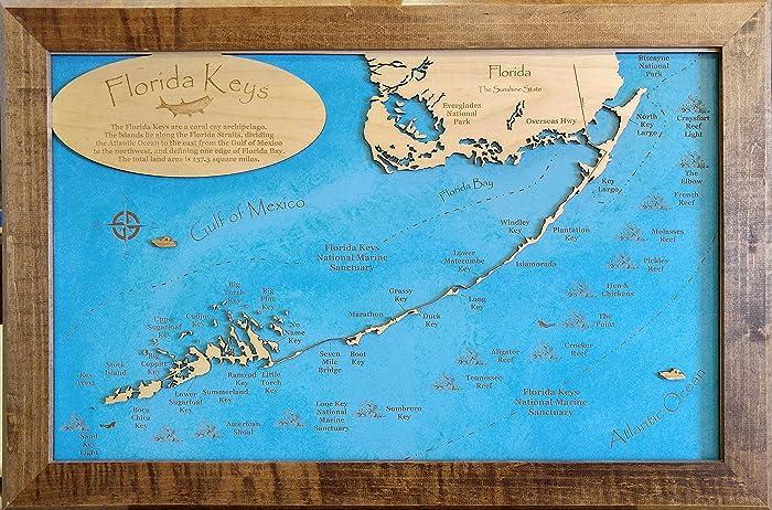 Florida Keys Map.Amazon Com The Florida Keys Framed Wood Map Wall Hanging Handmade
