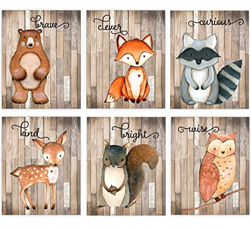 Amazon Com Woodland Nursery Decor For Boys Animal Pictures Wall Art Baby Room Animal Prints On Shiplap Bear Deer Fox Raccoon Owl Squirrel Decor Set Of 6 8x10 Unframed Handmade