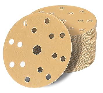 50 Stück Schleifscheiben 150 mm Exzenter Schleif papier P150 rot Klett Scheiben