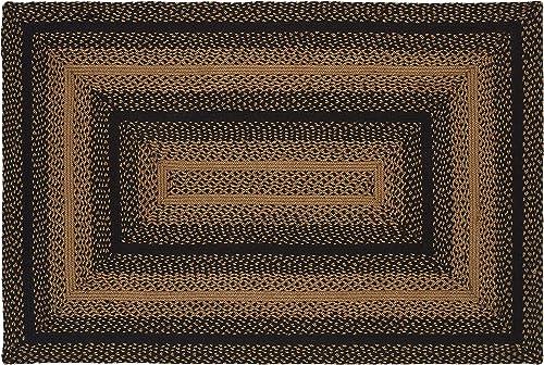 IHF Home Decor Braided Area Rug Ebony 22 x 72 Rectangle Carpet Jute Fabric