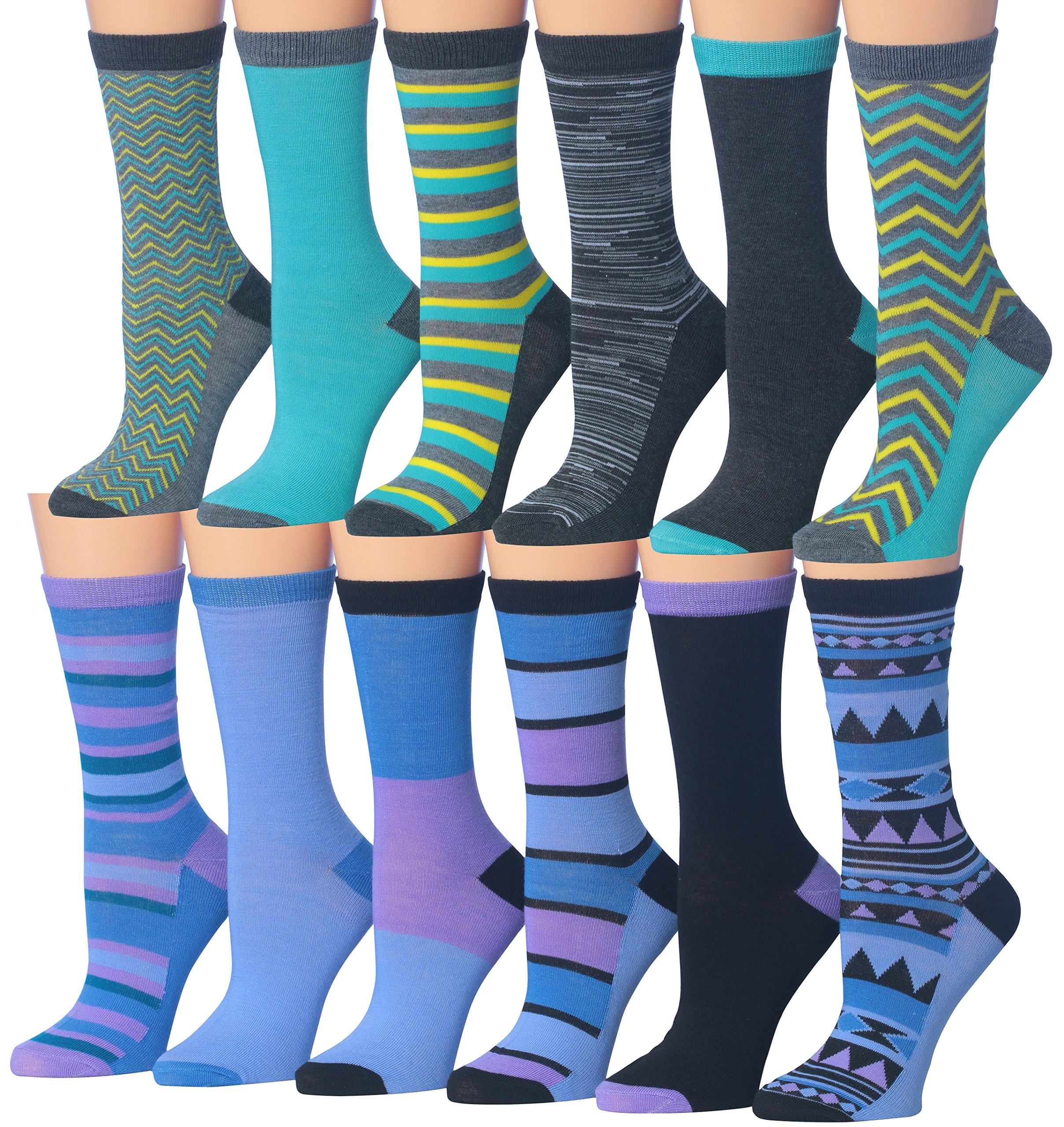 Tipi Toe Women's Ladies 12 Pairs Colorful Funky Fashion Blue Purple Crew Socks, (sock size 9-11) Fits shoe size 5-9, WC29-AB
