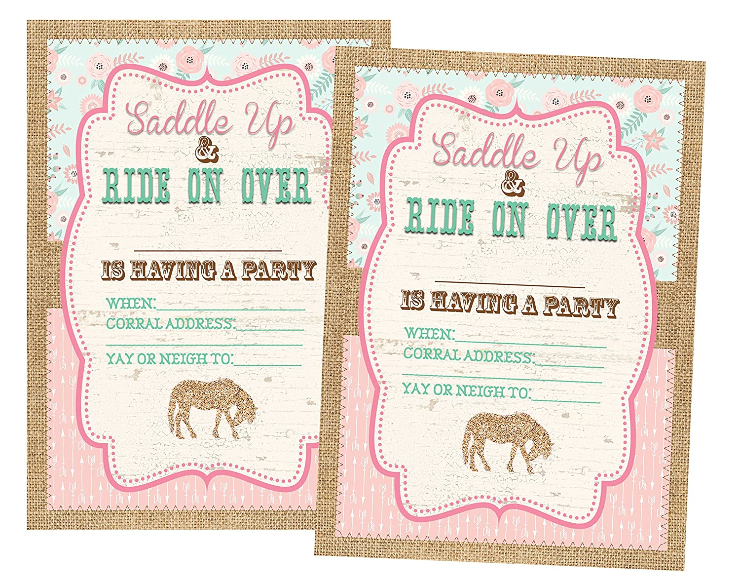 Pony Party Decorations Invitations and Supply Kit Horse Invitations 12 Invites and Envelopes Included