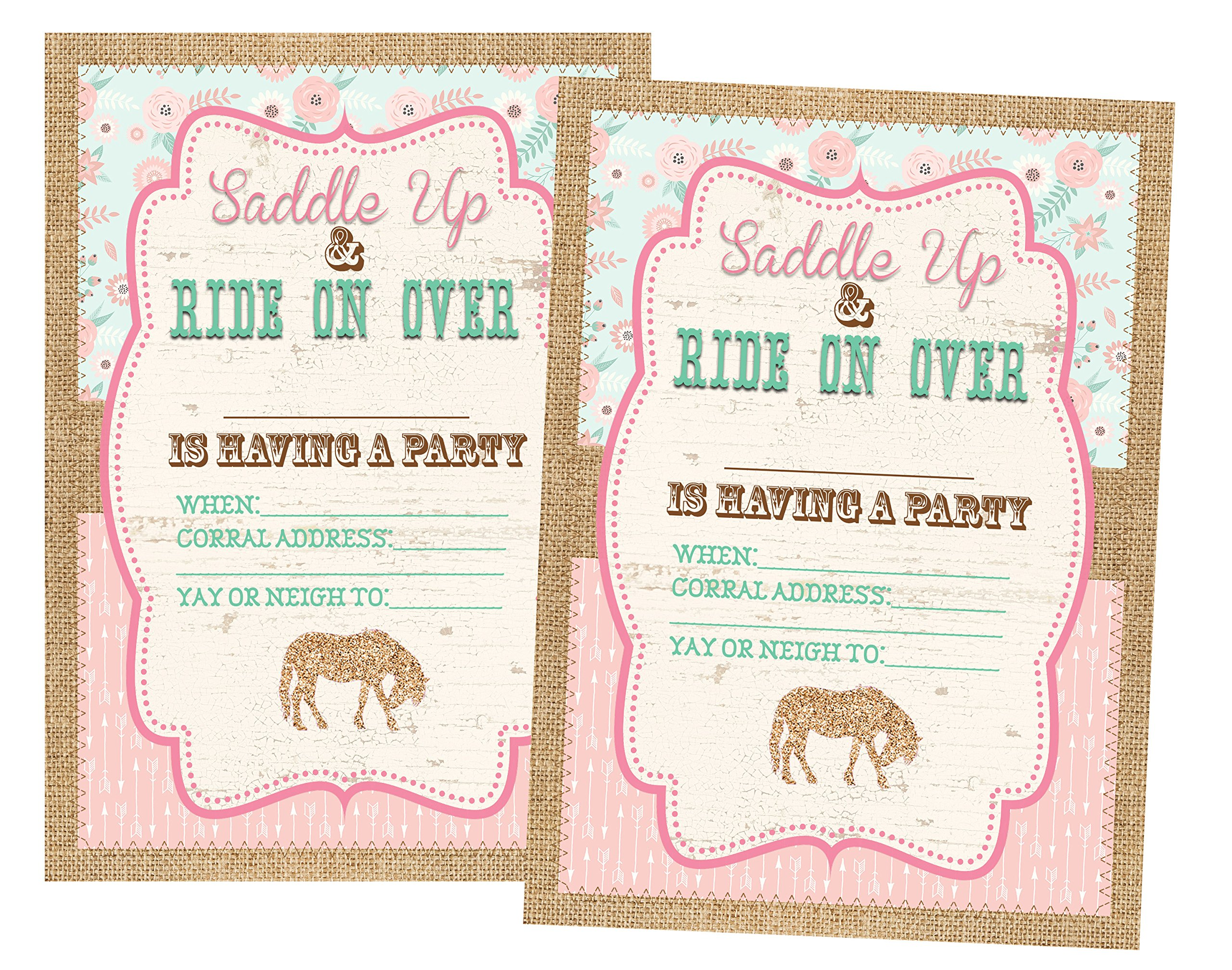 Pony Party Decorations Invitations and Supply Kit Horse (Invitations) 12 Invites and Envelopes Included by Silly Goose Gifts