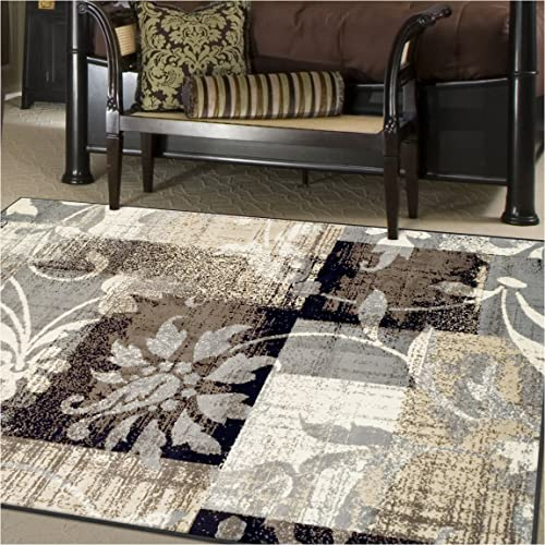 Superior Designer Pastiche Area Rug, Distressed Geometric Floral Patchwork Pattern, 8 x 10 , Chocolate