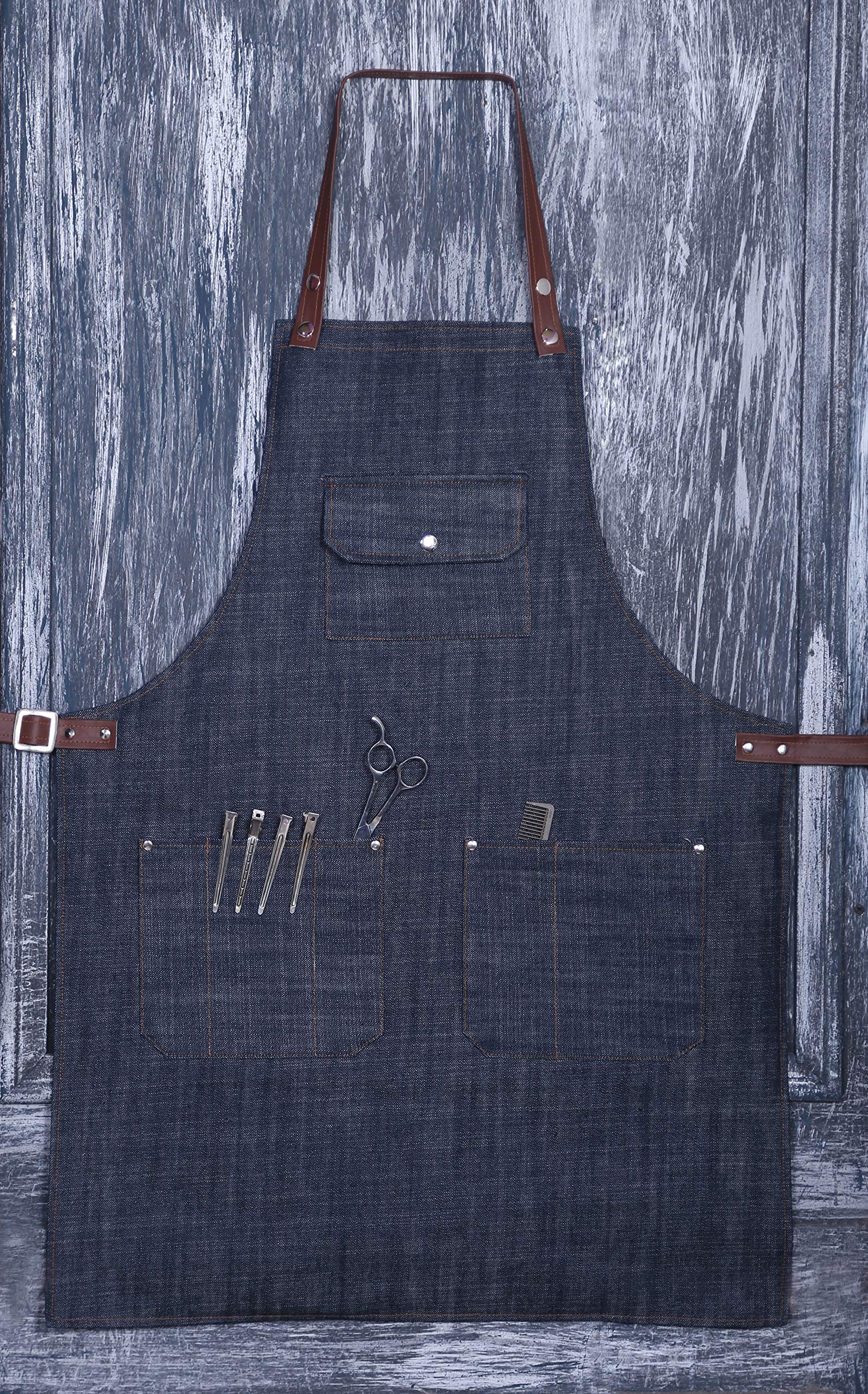 Facón Professional Denim Hair Cutting Hairdressing Barber Apron Cape for Salon Hairstylist - Multi-use, Adjustable with 6 Pockets - Heavy Duty Premium Quality - Limited Edition - 33'' x 24'' (Denim) by FACON