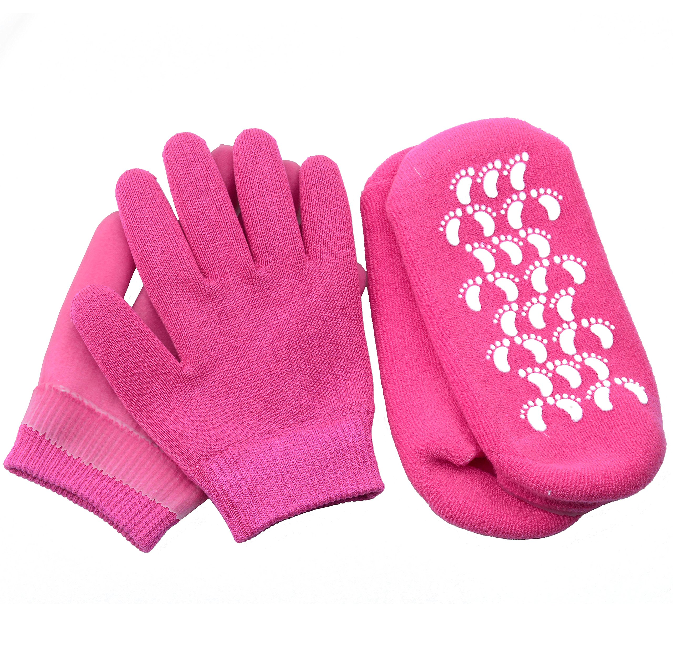4pcs Premiun Hands & Feet Intense Moisture Replenishing Kit, Spa Socks Spa Gloves Gel Lined and Infused Essential Oils for Dried Cracked Skin (Rose Pink)