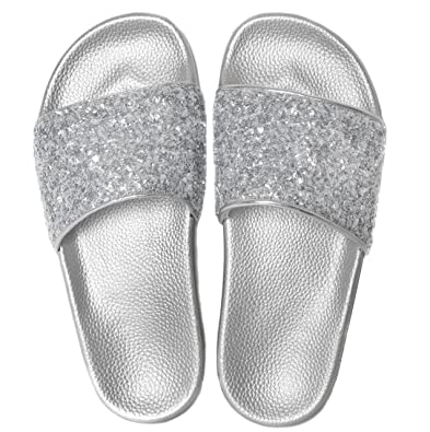 c8fcd4caf Slydes Crush Silver Women s Slider Sandals  Amazon.co.uk  Shoes   Bags