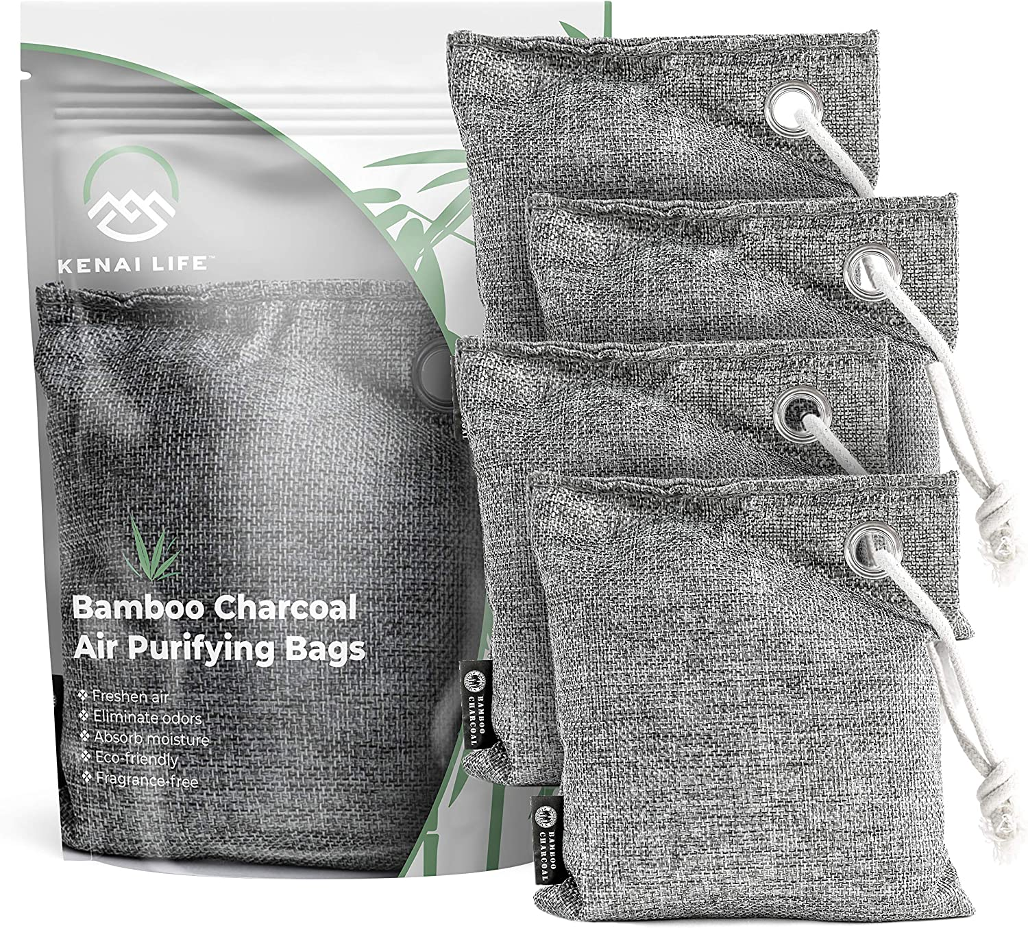 Charcoal Bags Odor Absorber for Home, Pet Odor Eliminator & Air Freshener, Bamboo Charcoal Car Air Purifier Bags, Closet & Small Room Deodorizer Air Purifying Bags, 4 Pack 200g