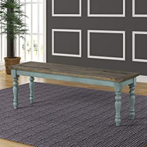 Roundhill Furniture CB1854 Prato Two-Tone Wood Upholstered Dining Bench, Blue