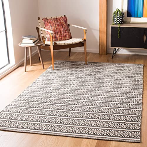 Safavieh Montauk Collection MTK341D Handmade Flatweave Ivory and Black Cotton Area Rug 8 x 10